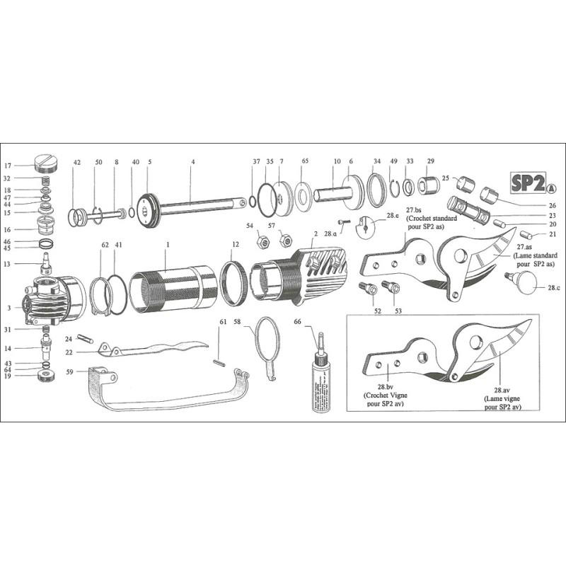 Sécateur pneumatique Scatair SP2AS - vigne bois tendre